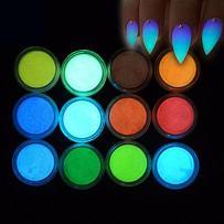 MEILINDS Night Fluorescence Pigment Ultrafine Glitter Glow Powder Nail Art Dust Luminous Decor Tip Beauty Tool 12 Colors
