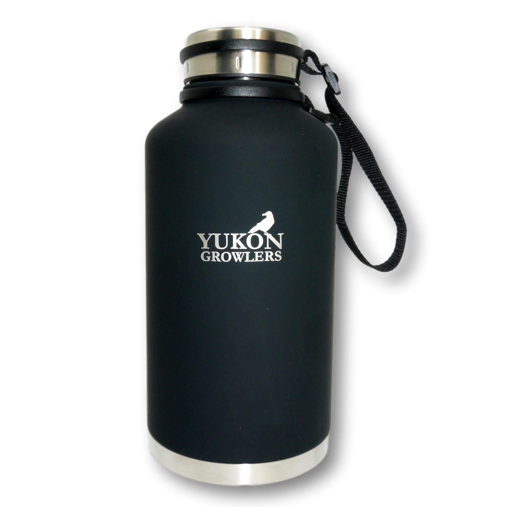Yukon Growlers Insulated Beer Growler - Keep Your Beer Cold and Carbonated for 24 Hours in This Stainless Steel Vacuum Water Bottle – Also Keeps Coffee Hot - Improved Lid – 64 oz