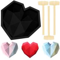 Diamond Heart Shape Silicone Cake Mold Chocolate Mousse Dessert Baking Pan Silicone Fondant Mold with 8 Pieces Mini Wooden Hammers for Home Kitchen DIY Baking Tools (Black)