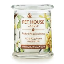 One Fur All-100% Natural Soy Wax 20 Fragrances Odor Eliminator, Up to 60 hrs Burn Time, Non-Toxic, Eco-Friendly Reusable Glass Jar Scented Pet House Candle, S, Pack of 1, Vanilla Sandalwood