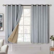 BGment 100% Blackout Curtains with Liner for Bedroom, Grommets Thermal Insulated Textured Linen Lined Curtains for Living Room ( 52 x 54 Inches, 2 Panels, Grey )