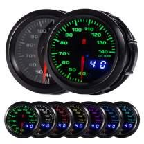 "HOTSYSTEM 7 Color Oil Temperature Gauge Kit 40-140 Celsius Pointer & LED Digital Readouts 2-1/16"" 52mm Black Dial for Car Truck"