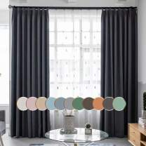 MacoHome Grey Linen Bedroom Curtain 72 Inch Wide by 84 Inch Length Blackout Grommet Window Curtain Panel, not Full Blackout, Dark Grey