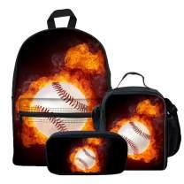 LedBack Baseball Print Cute Backpack Set for Junior School Canvas Book Bag 3PCS