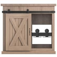 WINSOON 4FT Top Mounted Super Mini Sliding Barn Door Cabinet Hardware Kit for Single Door TV Stands Small Wardrobe Cabinets, T Shape Hanger (NO Cabinet)