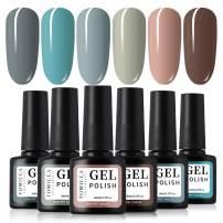 TOMICCA Gel Nail Polish Set - Blue Green Pink 6 Colors Series - Popular Spring Summer Nail Art Colors UV LED Soak Off Nail Gel Kit
