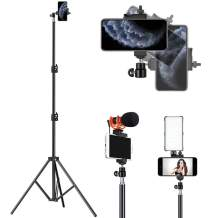 Tripod for iPhone Selfie Stick Tripod Webcast Video Compatible Cell Phone Video Stand with Cold Shoe for Ring Light and Mini Cameras/Microphone Photography Led (Tripod 80inch)