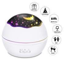 AutoWT Starry Night Light Projector, LED Lamp Star Moon Projector Rotating Night Light Sleep Soother for Baby Kids Bedroom Decoration Ideal Gift 8 Colors Mode (White)