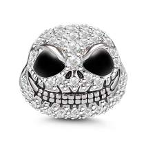 """Gnoce Halloween""""Jack Skull"""" Charm Bead 925 Sterling Silver Black Plated Charm with Cubic Zirconia fit for Bracelet/Necklace Jewelry Gift"""
