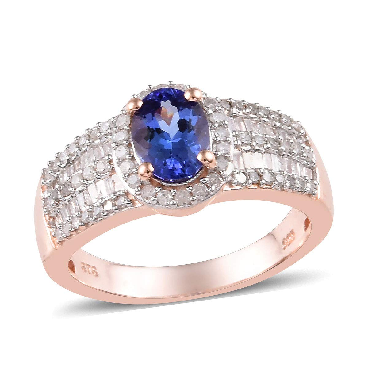 925 Sterling Silver AAA Premium Blue Tanzanite Diamond Baguette Ring Vermeil Rose Gold Women Jewelry Mothers Day Gifts Size 6 H-I Color I3