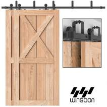 "WINSOON Top Mount Double Bypass Barn Door Hardware 6.6 FT Track Double Door Kit, Overlapping, One-Piece Rail, Heavy Duty, Slide Smoothly Quietly, Easy Install, Fit Up to Two 39.6"" Wide Door Panel"