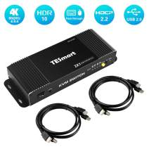 TESmart HDMI-KVM-Switch-2 Port 4K@60Hz Ultra HD 2x1 HDMI KVM Switcher with 2 Pcs 5ft KVM Cables Supports Mechanical and Multimedia Keyboard &Mouse USB 2.0 Devices Control up to 2 Computers/Servers/DVR