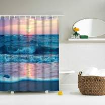 """IcosaMro Beach Shower Curtain for Bathroom with Hooks, Ocean Wave Nature Decorative Long Cloth Fabric Shower Curtain Bath Decorations- 71"""" Wx72 L, Blue"""
