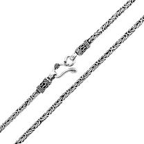 3MM Bali Balinese Handmade Oxidized Sterling Silver Byzantine Chain Necklace For Women 16 18 20 Inch Indonesian S Hook