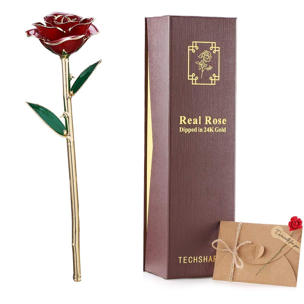 TECHSHARE 24K Gold Dipped Rose, Real Rose Forever Rose for Mothers Day/Birthday/Proposal Wedding/Anniversary