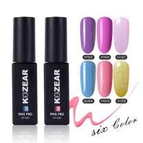 KOZEAR 6 Colors Gel Nail Polish Set, 0.28 Fl Oz Nonpoisonous Fast Dry Soak Off UV LED Nail Gel Kit - Summer Fun Nude Color Series Gel Polish Gift Box, C043