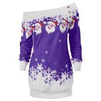 DEZZAL Women's Skew Neck Christmas Santa Claus Snowflake Pullover Sweatshirt (Purple, M)