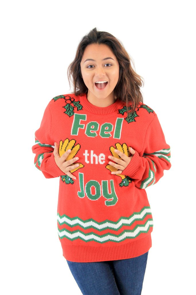 Feel The Joy Groping Hands Adult Red Ugly Christmas Sweater