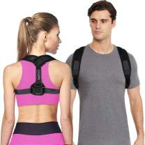 """LotFancy Posture Corrector for Men Women Under Clothes, Adjustable Clavicle Support Brace and Back Straightener, Prevents Kyphosis, Slouching and Bad Posture, Medium (36""""-46"""" in Chest Circumference)"""