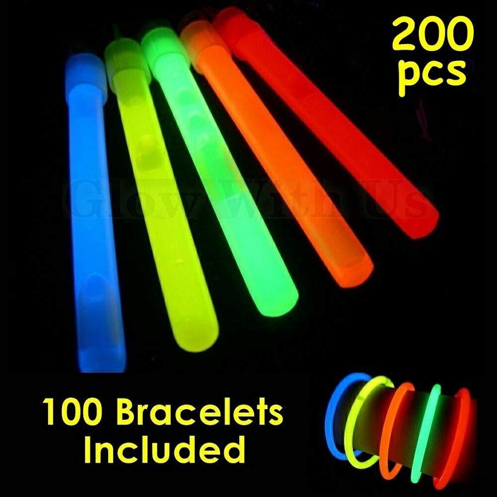 """Glow Sticks Bulk Wholesale, 100 4"""" Glow Stick Light Sticks+100 Free Glow Bracelets! Assorted Bright Colors, Kids Love Them! Glow 8-12 Hrs, 2-Year Shelf Life, Sturdy Packaging, GlowWithUs Brand"""