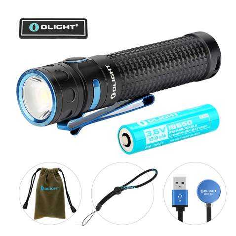 Olight Baton Pro 2000 Lumens Compact Rechargeable Side-Switch LED Flashlight with Single 3500mAh 18650 Customized Battery, Magnetic Charger Cable