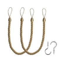BEL AVENIR Curtain Tiebacks Ropes Tie-Backs, Handmade Curtain Holdbacks with 2 Metal Screw Hooks - Golden 2 Pack