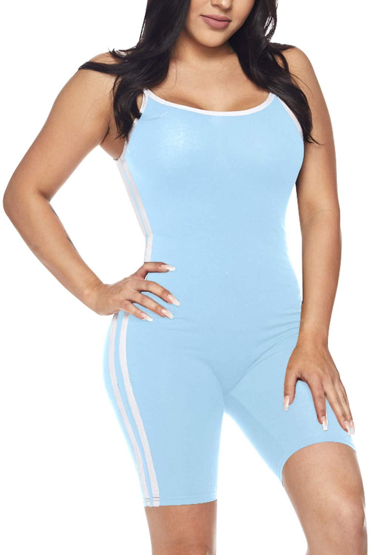 Fixmatti Womens Spaghetti Strap One Piece Jersey Bodycon Romper Blue L