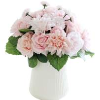 Bringsine Bridal Wedding Bouquet Flower Arrangement Home Decorative Artificial Silk- Rose, Daisy, Dahlia, Decoration, Bunch Hotel Party Garden Floral -Pink