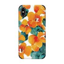 CUSTYPE Floral iPhone Xs Max Case, Watercolor Pattern Design Phone Case Ultra Soft Slim Anti-Slip Shock-Absorption Bumper Cover Case for iPhone Xs Max 6.5-Inch Orange Floral