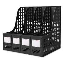 Lemical Large Space Magazine File Holder Organizer Box with 4 Vertical Compartments Desktop File Documents Data Folders Storage Text Paper Notebook File Desktop Container Organizer Box Office Supplies