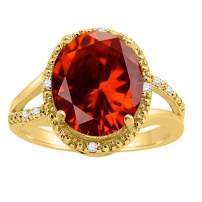 MauliJewels Rings for Women 4.53 Carat Oval Shaped Garnet and Diamond Ring 4-prong 10K Yellow Gold Gemstone Wedding Jewelry Collection