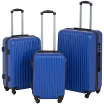 Suitcase 3 Piece Luggage Sets Travel Carry on Lightweight Durable Spinner Eco-friendly Blue with Password Lock