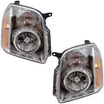 Aftermarket Replacement Driver and Passenger Set Halogen Headlights Compatible with 2007-2014 Yukon Denali & Yukon XL Denali 20969896 20969897