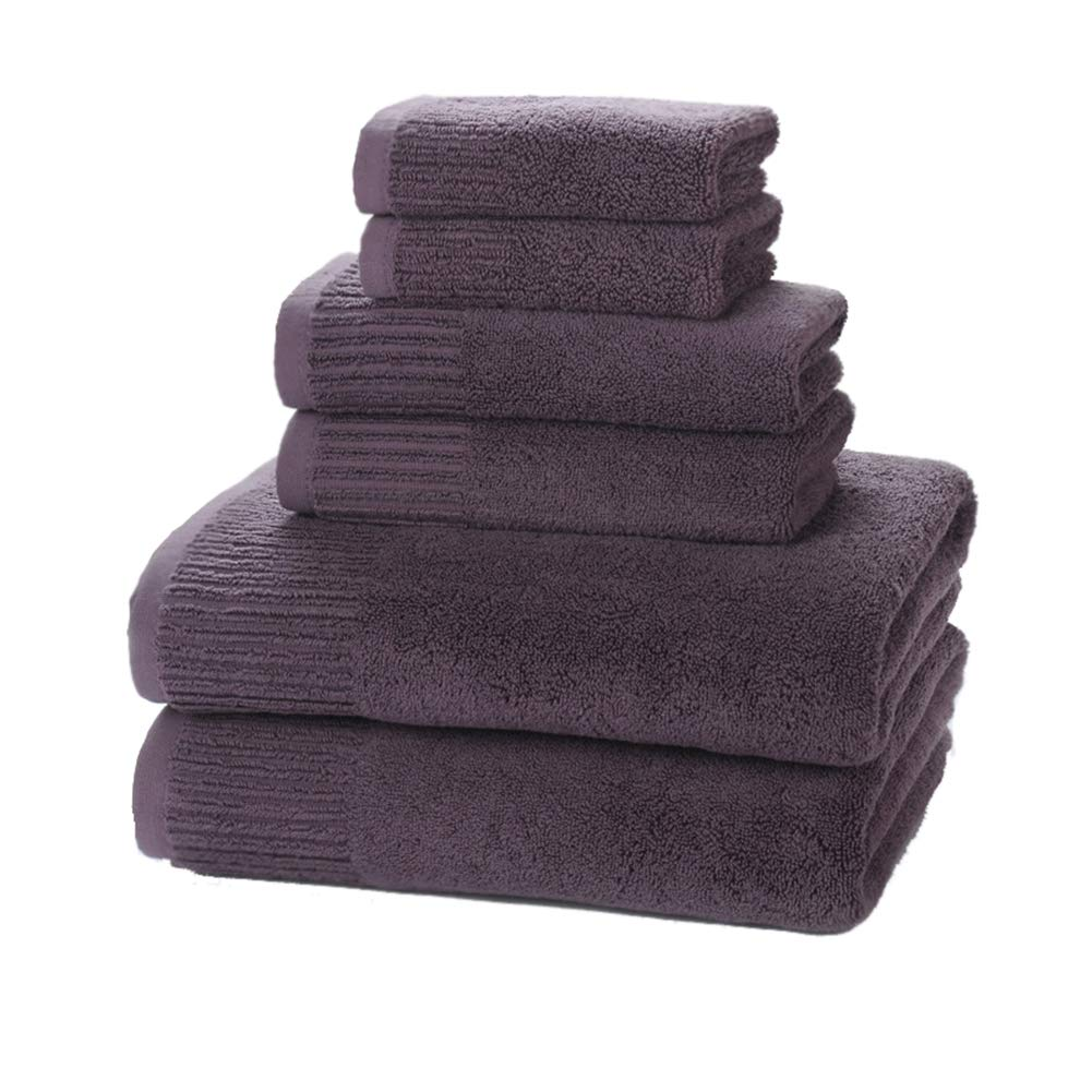 YiYaYo Cotton Thicken Bath Towels 6 Piece Towel Set, Super Soft and Ultra Absorbent, Lint Free, Fade Resistant, 2 Bath Towels, 2 Hand Towels, and 2 Washcloths (Purple)