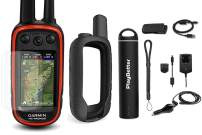 Garmin Alpha 100 (GPS Only) Hunting Armor Bundle w/PlayBetter Portable Charger, Silicone Case, Screen Protectors & Tether | Satellite Subscription (GPS Only, Black Case)