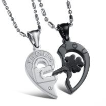 OPK Jewelry Stainless Steel Couple Necklace Set Crystal I Love You Key to Lock Puzzle Heart Pendant