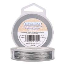 BENECREAT 180-Feet 0.02inch (0.5mm) 7-Strand Bead String Wire Nylon Coated Stainless Steel Wire for Necklace Bracelet Beading Craft Work