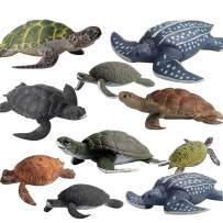 Fantarea 10 PCS Marine Animal Action Figures Ocean Creatures Models Figurine Sea Turtle Family Party Supplies Cake Toppers Set Toys for 5 6 7 8 Years Old Boys Girls Kid Toddlers