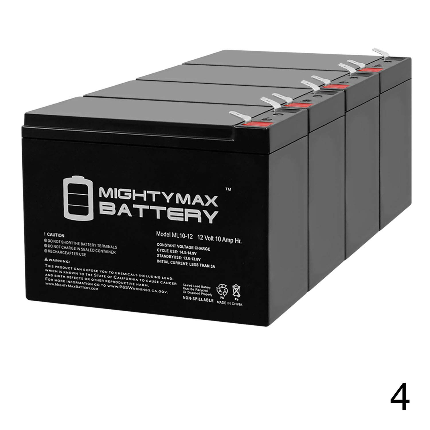 Mighty Max Battery ML10-12 - 12 Volt 10 AH SLA Battery (4 Pack)
