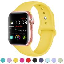 DaQin Compatible with Apple Watch Band 44mm 42mm, Sport Silicone Replacement Bands for iWatch Series 5 Series 4 Series 3/2/1, Mango Yellow, M/L