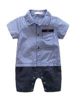 Abolai Baby Boys' Cute Pure Cotton Plaid Stitching Rompers