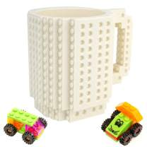 Build-On Brick Mug - 12oz White Mug Set DIY Blocks Cup Building Toy Cup Party Supply Drinkware