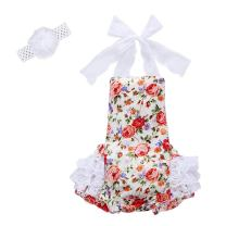 Baby Girls Floral Print Birthday Ruffle Lace Romper Dress Outfit Valentine's Day Halter Bodysuit Jumpsuit Summer Headband