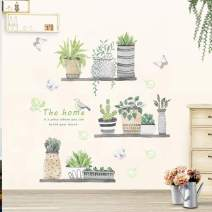Green Plant Wall Decal Bonsai Flower Butterfly Cactus Wall Stickers DIY Mural Art Decoration for Living Room Bedroom Kitchen Nursery Home Décor (Potted Plant)
