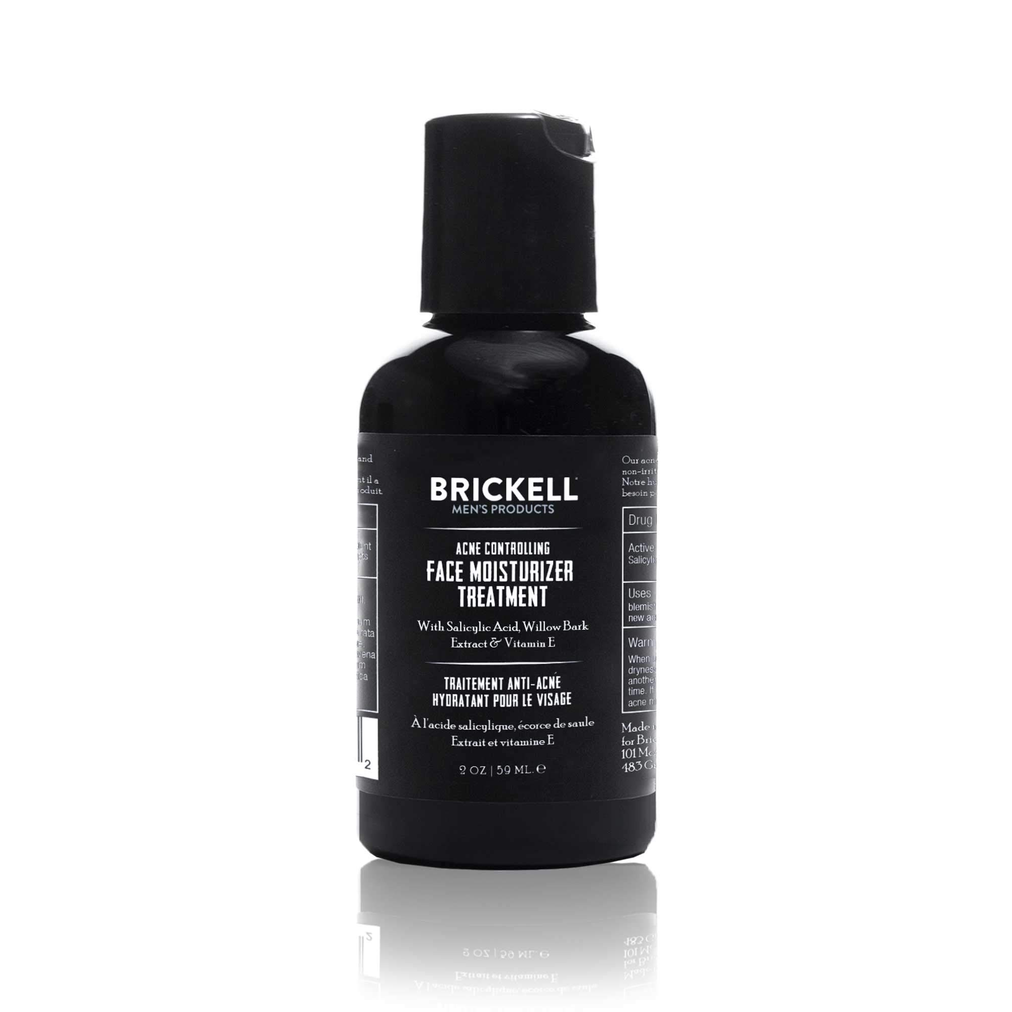 Brickell Men's Acne Controlling Face Moisturizer Treatment for Men, Natural and Organic Acne Face Moisturizer Treatment to Clear Acne, Even Skin Tone and Moisturize Skin, 2% Salicylic Acid, 2 Ounces