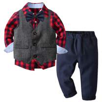 Betusline Baby & Little Boys' Tuxedo Dress Shirt + Vest + Pants Set, 12 Month - 6 Years