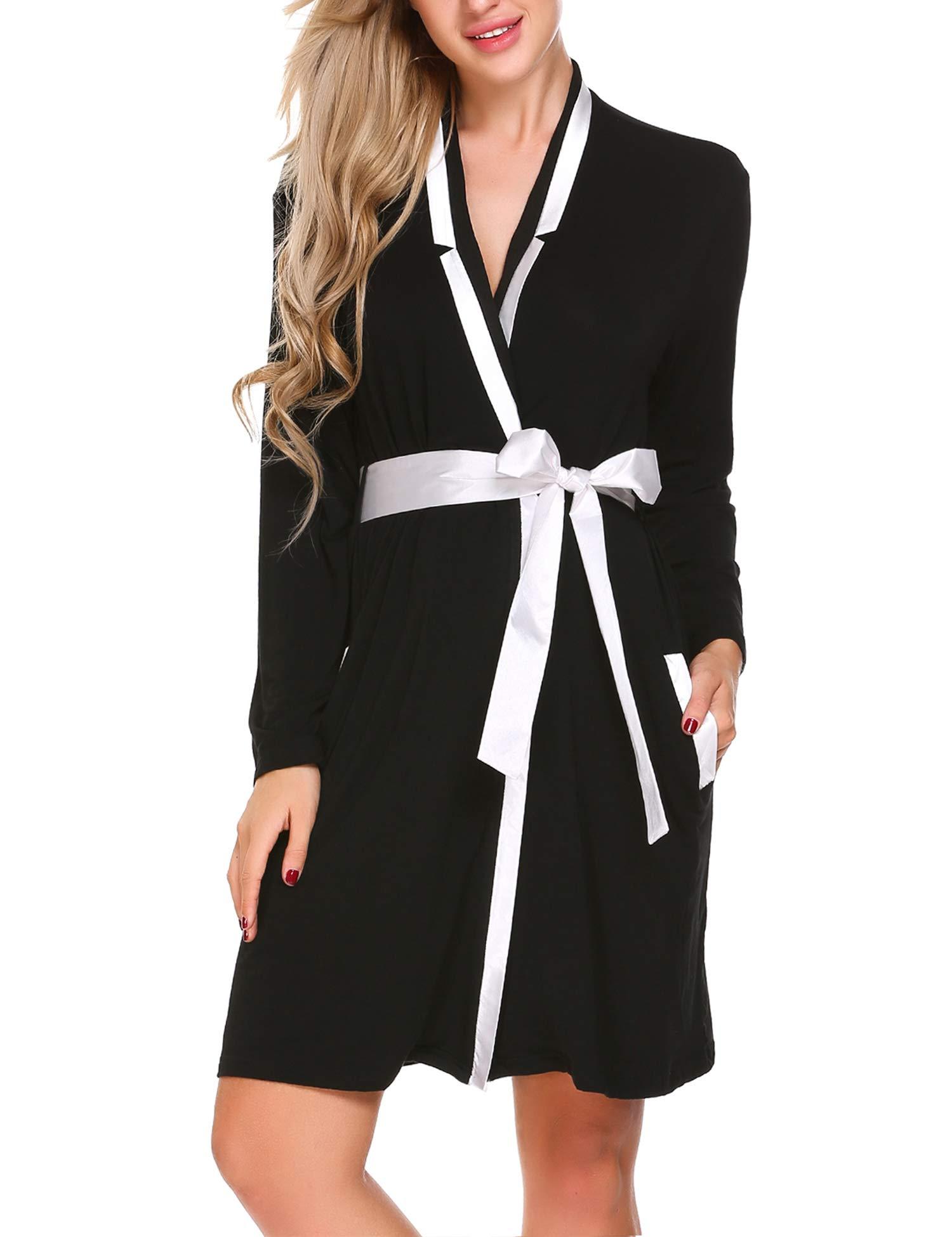Ekouaer Womens Soft Warm Fleece Bathrobe Kimono Spa Robe