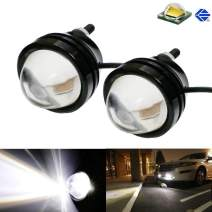 iJDMTOY (2) Xenon White 5W CREE High Power Bull Eye LED Projector Lamps, Compatible With Parking Lights, Fog Lights, Driving DRL Lights or Backup Reverse Lights