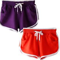 Beauty_yoyo Teen Girls Women Running Shorts Gym Workout Yoga Sport Performance Short (Pack of 2)