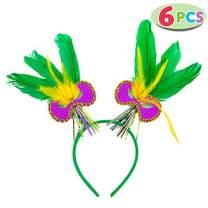 JOYIN 6 PCS Mardi Gras Feather Headbands Mardi Gras Women Party Accessories Party Favors Mardi Gras Dress-up Costume Accessories for Women